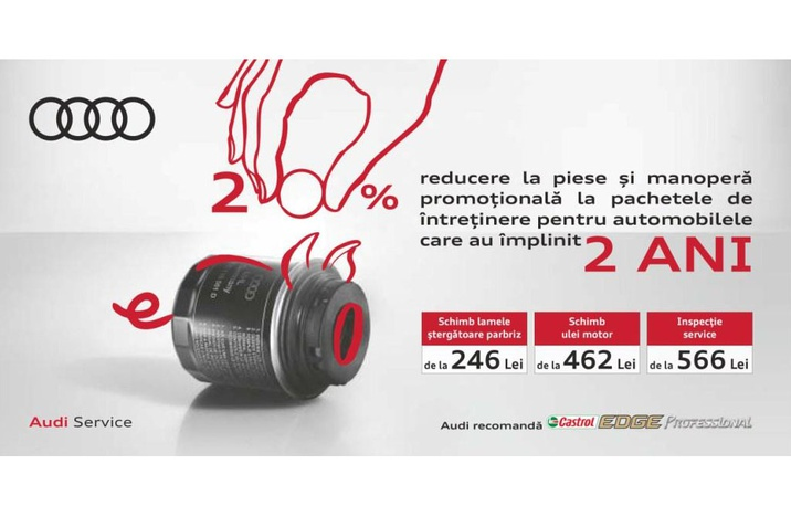 20% reducere la piese și manoperă promoțională la pachetele de întreținere pentru mașinile care au împlinit 2 ANI